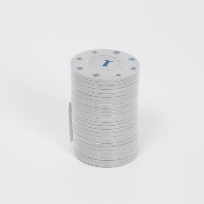 Фишки с номиналом 1, однотонные, серые, в наборе 25 шт.