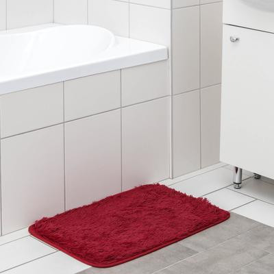 """Коврик для ванны прямоугольный 40х60 см """"Пушистик"""" цвет бордовый"""