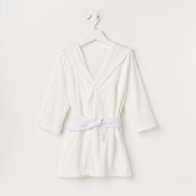 Халат махровый с капюшоном, рост 86-92 см, цвет белый 1431-52 Ош