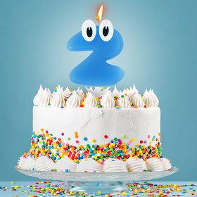 Свеча в торт цифра 2 'С днем рождения, малыш' Ош