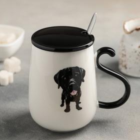 Кружка «Люблю свою собаку», 480 мл, с керамической крышкой и ложкой, рисунок МИКС