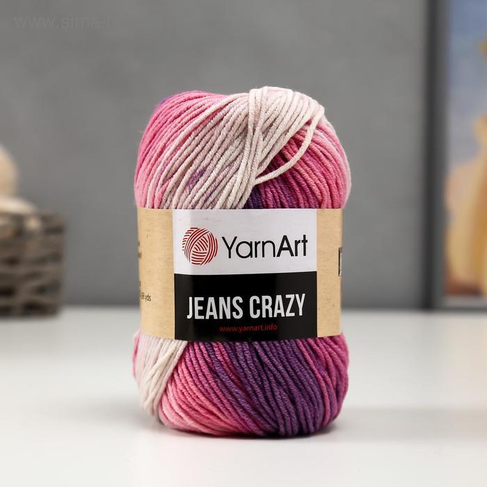 """Пряжа """"Jeans crazy"""" 55% хлопок, 45% акрил 160м/50гр (8206  принт)"""
