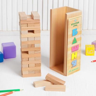 Конструктор «Башня» 54 детали, в буковой коробке, брусок: 7.5 × 2.5 × 1.4 см - Фото 1