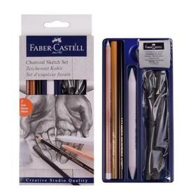 Набор художественный Faber-Castell 'Уголь' 7 предметов (2 штуки древесного угля PITT (6 — 11 мм), угольный карандаш PITT Medium, мягкий угольный карандаш, белый угольный карандаш, ластик-кляча, растушёвка) Ош