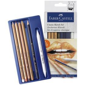 Набор художественный Faber-Castell 'Классический' 6 предметов (чернографитный карандаш 2B, растушёвка, пастель в карандаше белая, сангина, сепия, карандаш масляный Medium) Ош