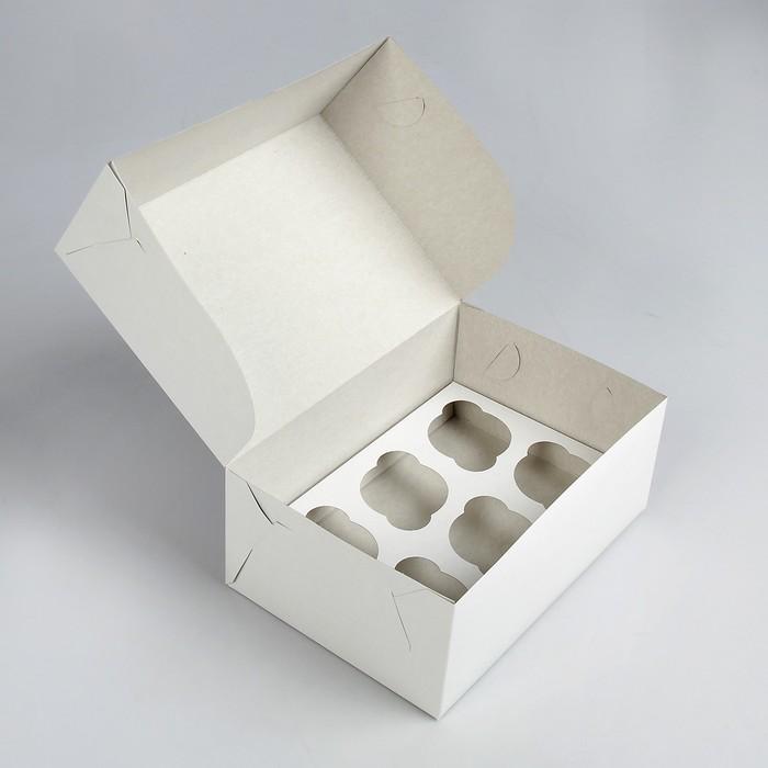Упаковка на 6 капкейков, без окна, белая 25 х 17 х 10 см