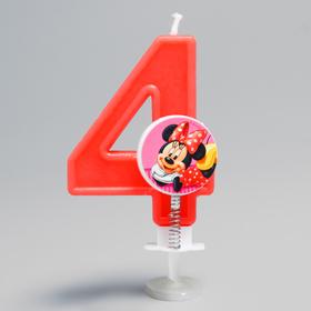 Свеча в торт цифра Дисней '4', Минни Маус Ош