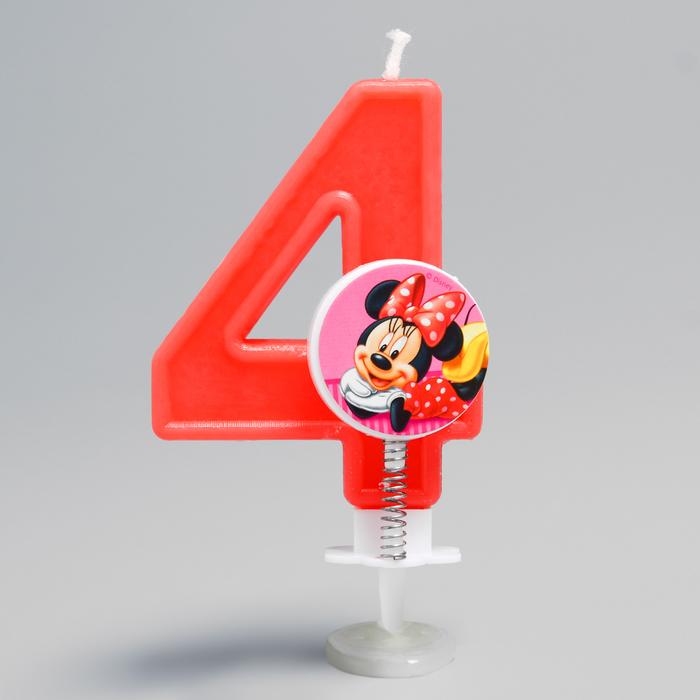 Свеча в торт цифра Дисней 4, Минни Маус