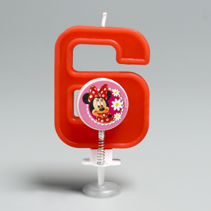 Свеча в торт цифра Дисней 6, Минни Маус
