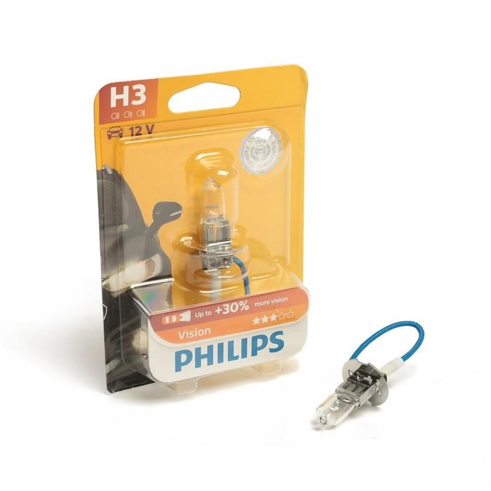 Автолампа PHILIPS Vision +30%, H3 (PK22s), 12В, 55 Вт, блистер 12336 PR B1