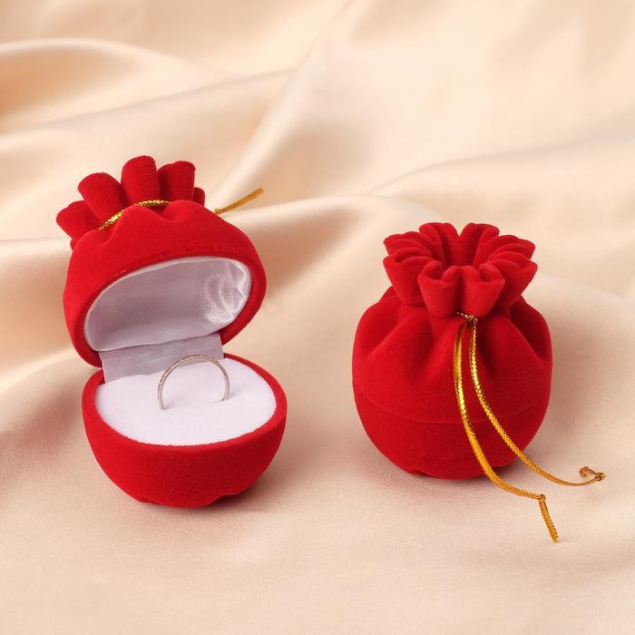 """Футляр под серьги/кольцо """"Мешочек подарочный"""" 5*5*6,7см, цвет красный"""