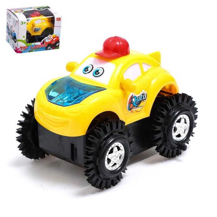 """Машина-перевёртыш """"Безумный гонщик"""", работает от батареек, световые эффекты, цвета МИКС"""