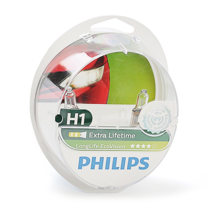 Автолампа PHILIPS Long Life Eco, H1 (P14.5s), 12 В, 55 Вт., 12258 LLECO S2, 2 шт.