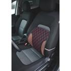 Ортопедическая спинка на сиденье усиленная, 38x39 см, черная с красной строчкой