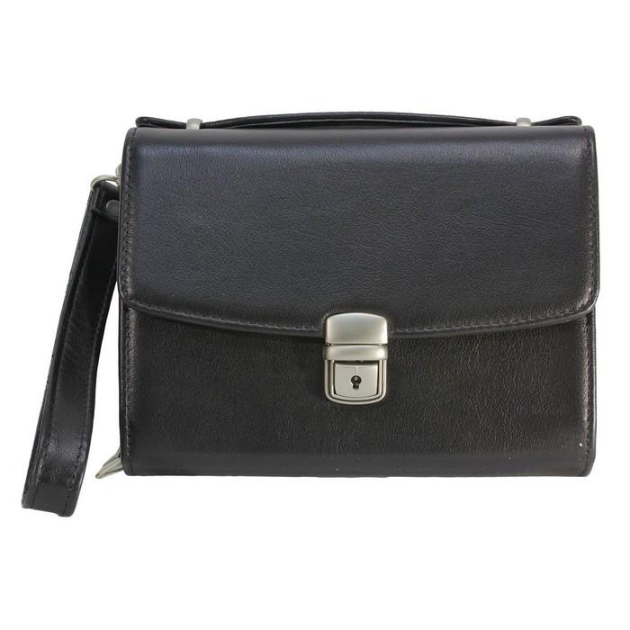 Барсетка, отдел на клапане, наружный карман, цвет чёрный