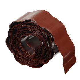 Лента бордюрная, 0.1 × 9 м, толщина 0.6 мм, пластиковая, гофра, терракотовая Ош