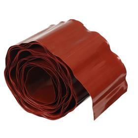 Лента бордюрная, 0.15 × 9 м, толщина 0.6 мм, пластиковая, гофра, коричневая Ош