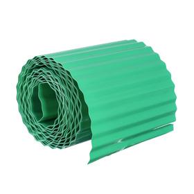 Лента бордюрная, 0.2 × 9 м, толщина 0.6 мм, пластиковая, гофра, зелёная Ош