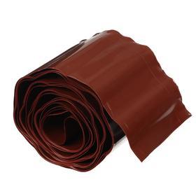 Лента бордюрная, 0.2 × 9 м, толщина 0.6 мм, пластиковая, гофра, коричневая Ош
