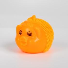 Ёжка «Свинка», световой, с пищалкой, на резинке, цвета МИКС Ош