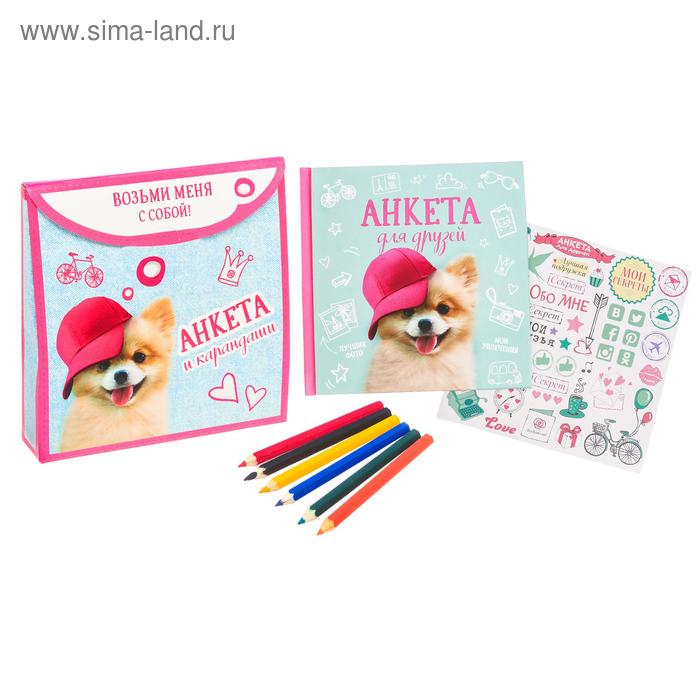 """Подарочный набор """"Возьми меня с собой"""": анкета для девочек в твёрдой обложке с наклейками и карандаши, 6 шт"""