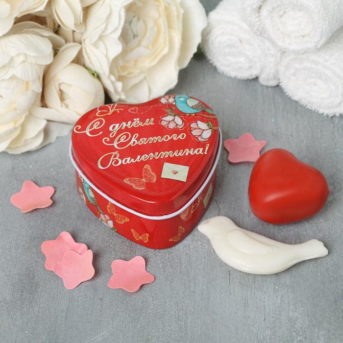 """Два фигурных мыла в шкатулке-сердце """"С днём святого Валентина"""""""