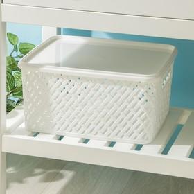 Корзина для хранения с крышкой «Плетёнка», 35×29×17,5 см, цвет белый