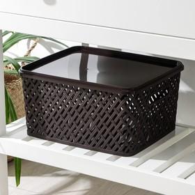 Корзина для хранения с крышкой «Плетёнка», 35×29×17,5 см, цвет коричневый