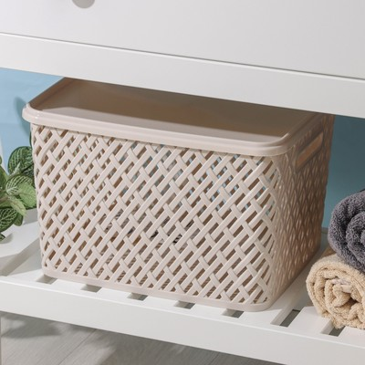 Корзина для хранения с крышкой «Плетёнка», 35×29×22,5 см, цвет бежевый