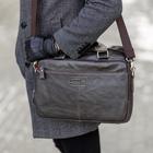 Сумка мужская, отдел на молнии, 3 наружных кармана, длинный ремень, цвет коричневый