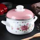Кастрюля «Розовый букет» d=16 см, 2 л, цвет белый - Фото 1