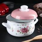 Кастрюля «Розовый букет» d=16 см, 2 л, цвет белый - Фото 2