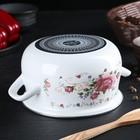 Кастрюля «Розовый букет» d=16 см, 2 л, цвет белый - Фото 3
