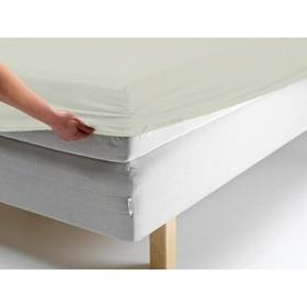 Простыня на резинке, размер 90х200х20 см, цвет молочный, трикотаж