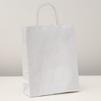 """Пакет крафт """"Радуга"""" белая. 25 х 11 х 32 см. с кручеными ручками"""