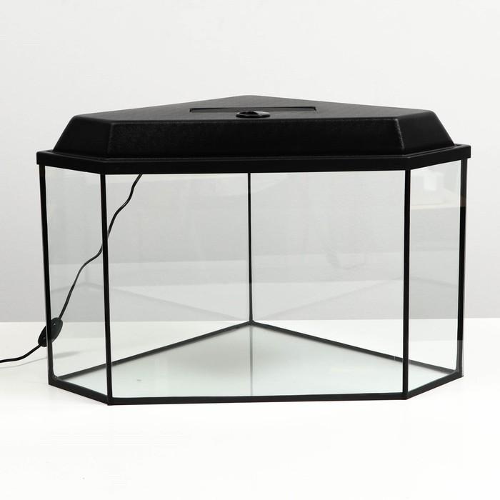 Аквариум дельта угловой с крышкой, 70 литров, 50 х 50 х 39,5/45,5 см, чёрный