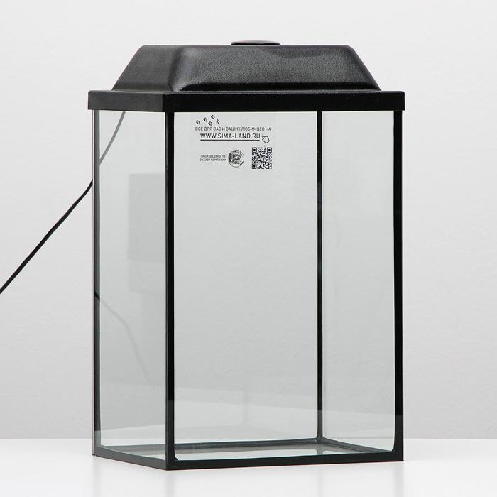 Аквариум колонна с крышкой, 24 литра, 28 х 21 х 40/45,5 см, чёрный