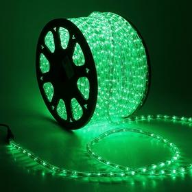 LED шнур 13 мм, круглый, 100 м, фиксинг, 2W-LED/м-36-220V. в компл. набор д/подкл, ЗЕЛЕНЫЙ Ош