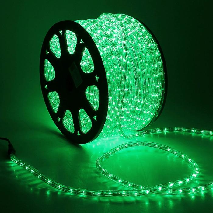 LED шнур 13 мм, круглый, 100 м, фиксинг, 2W-LED/м-36-220V. в компл. набор д/подкл, ЗЕЛЕНЫЙ