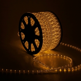 LED шнур 13 мм, круглый, 100 м, чейзинг, 3W-LED/м-36-220V. в компл. набор д/подкл. ЖЕЛТЫЙ Ош