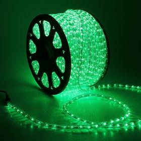 LED шнур 13 мм, круглый, 100 м, чейзинг, 3W-LED/м-36-220V. в компл. набор д/подкл. ЗЕЛЕНЫЙ Ош
