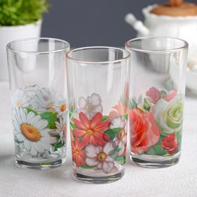 "Набор стаканов 230 мл ""Цветник"" для коктейля, 3 шт, МИКС"