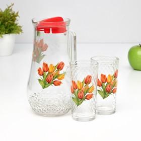 Набор питьевой 'Букеты', 3 предмета: кувшин 1,7 л, 2 стакана 230 мл, МИКС Ош