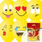 """Шар латексный 12"""" «Эмоции. Смайл», пастель, 1-сторонний, набор 10 шт., цвет жёлтый"""