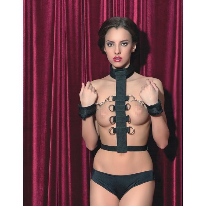 Бондаж Toyfa Theatre, кожаный, цвет чёрный, 44 см