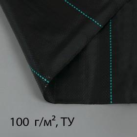 Агроткань застилочная, с разметкой, 10 × 2,5 м, плотность 100 г/м², полипропилен, чёрная, «Крон» Ош