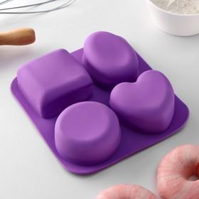 Форма для выпечки «Фигуры и сердце», 16×17 см, 4 ячейки (7×7 см), цвет МИКС