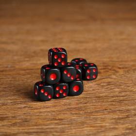 Кости игральные 1.4х1.4 см, чёрные, красные точки, фасовка 100 шт Ош