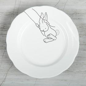 "Тарелка ""Зайчик на качеле"", белая, 17.5 см"