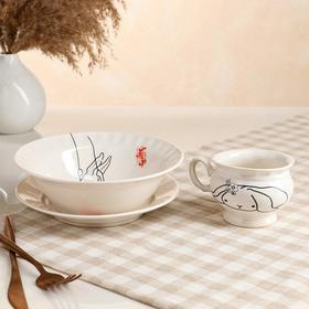 Столовый набор «Зайчик», 3 предмета: тарелка d=17,5 см, салатник 0,5 л, чашка 0,2 л, МИКС